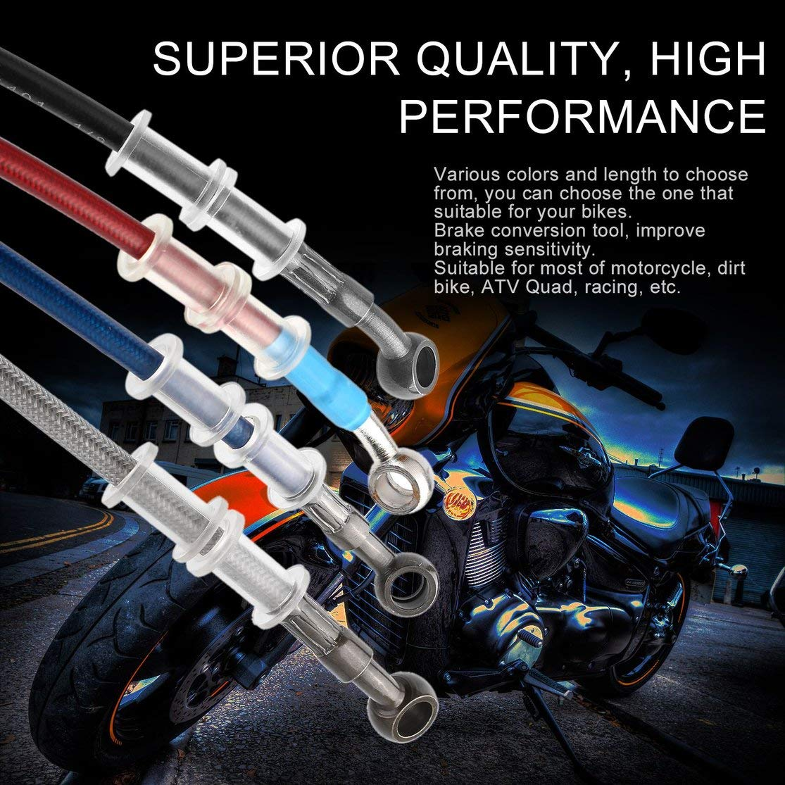 Color:Black Universal Motorcycle Brake Pipe Braided Steel Hydraulic Reinforce Brake Clutch Oil Hose Line Pipe Tube for Racing Dirt Bike 120cm