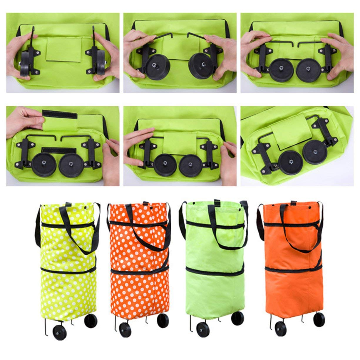 Shopping Trolley Wheel Bag,Fashionable Design Large Capacity Waterproof Oxford Cloth Foldable Shopping Trolley Wheel Bag Traval Cart Luggage Bag by Detectoy (Image #3)