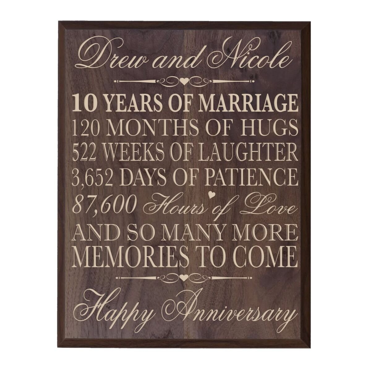 LifeSong Milestones Personalized 10th Wedding Anniversary Wall Plaque Gifts for Couple, Custom 10th for Her, 12 Inches Wide X 15 Inches High Wall Plaque (Grand Walnut)