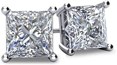 CZ Flawless Sterling Silver Princess Cut Iced Stud Earrings Prong Set Square