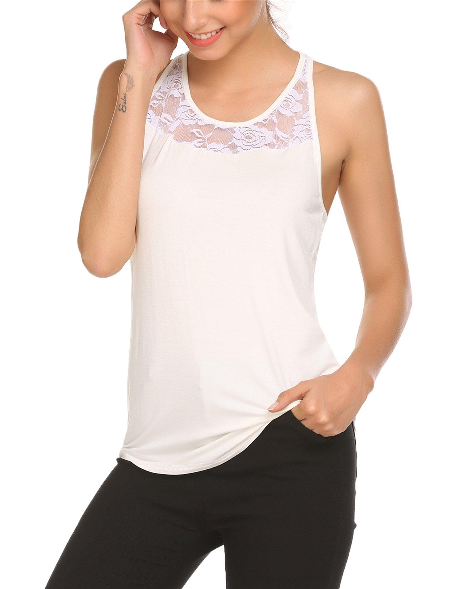 Mofavor Women's Sleeveless Crochet Lace Camisole Vest Halter Racerback Tank Top,White,Large by Mofavor (Image #3)