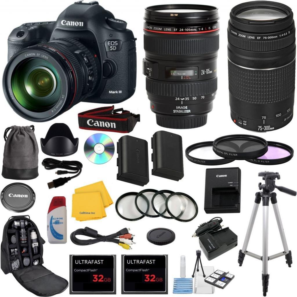 Camera Canon Professional Dslr Cameras amazon com canon eos 5d mark iii 22 3 mp full frame cmos digital slr camera bundle with accessory kit 29 items camera
