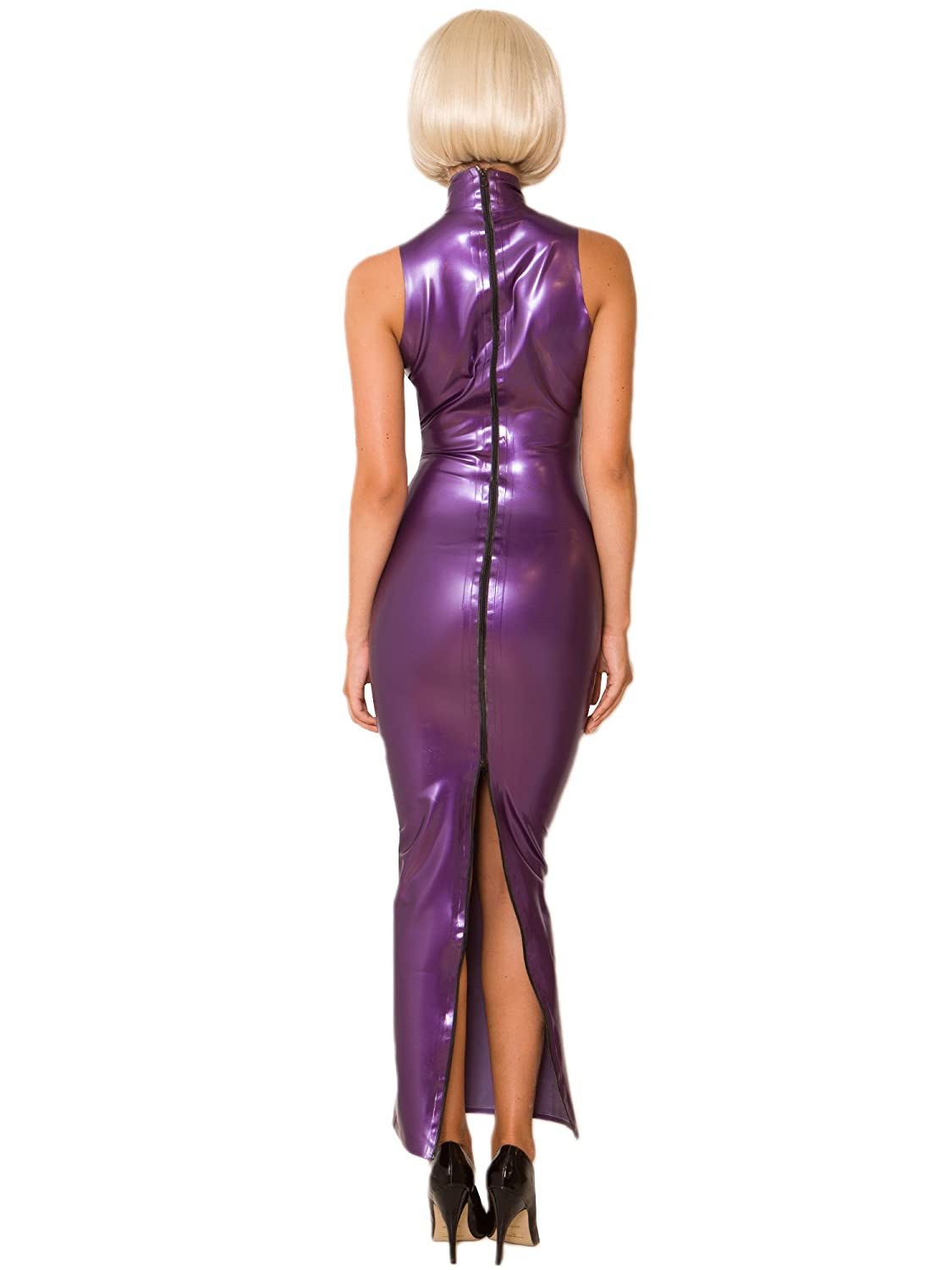 6a9fce0a0b768 Honour Purple Latex Hobble Dress Purple  Amazon.co.uk  Clothing