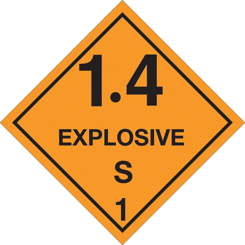 500 Labels Per Roll Orange//Black 4 x 4 Explosive 1 Roll 1.4 S 1 Labels//Stickers