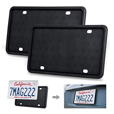 Kohree Black License Plate Frame,Silicone License Plate Frame,Universal American Car License Plate Holder with Rust-Proof, Rattle-Proof, Weather-Proof (2Pack): Automotive