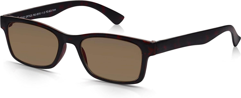 Gafas de Sol de Lectura READ OPTICS de Hombre/Muer Graduadas desde +2.00 Dioptrías: Lentes para Leer Tintadas con Protección UV-400 100% Rayguard™ - Marrón Tortoise