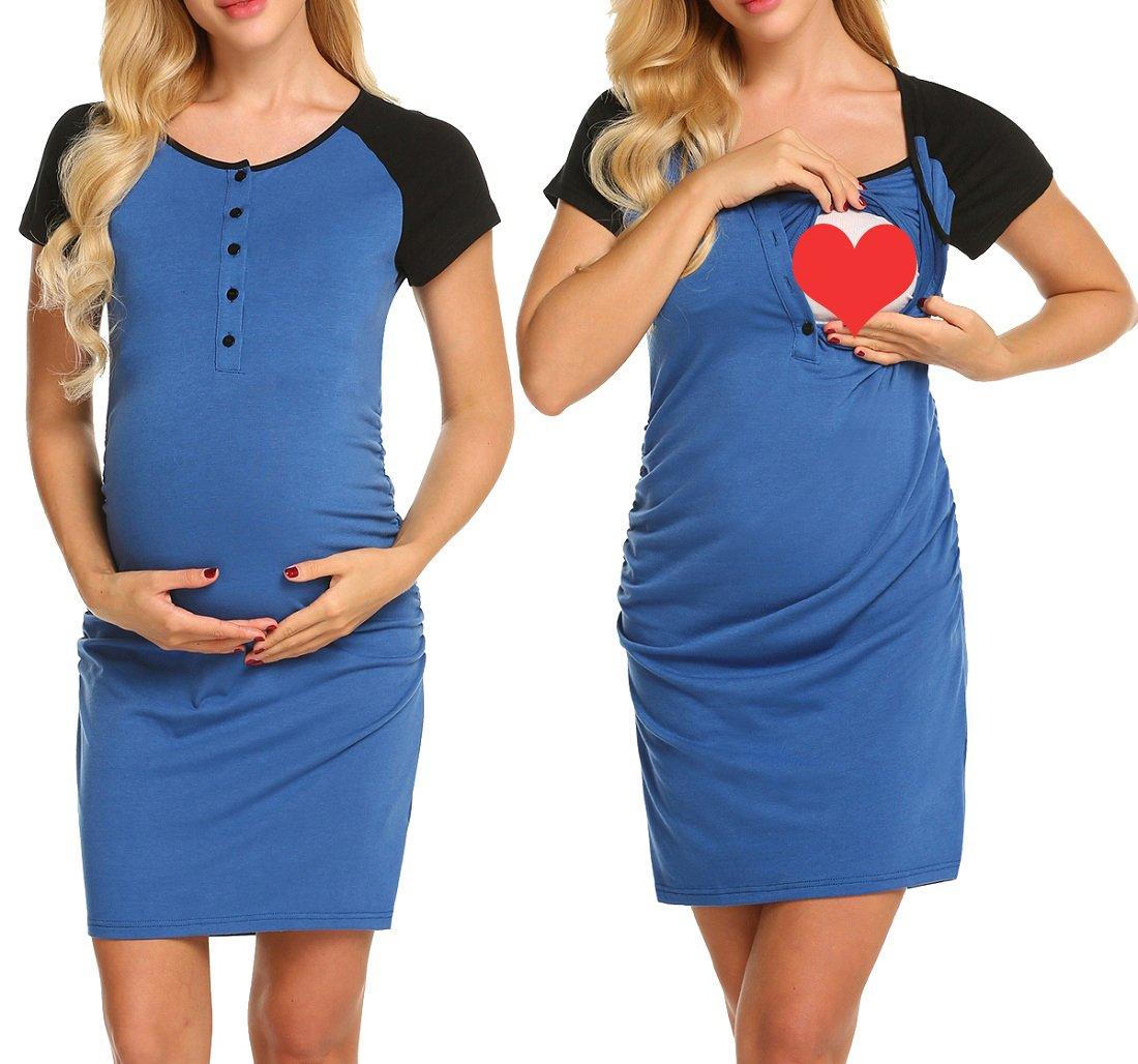 Ekouaer Women's Ruched Maternity Bodycon Dress Causual Short Sleeve Wrap Dresses Blue S by Ekouaer (Image #1)