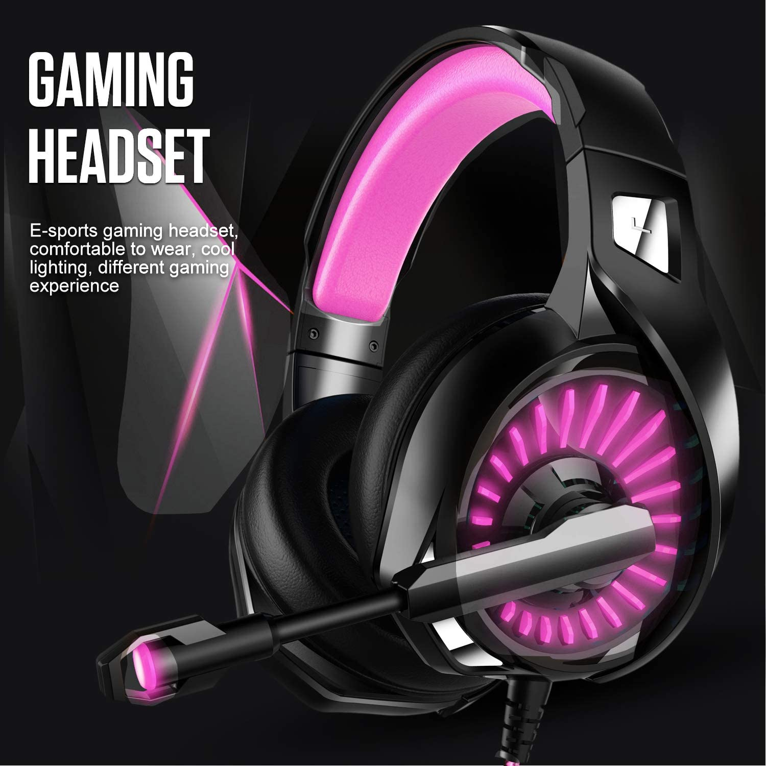 Gaming Headset,MMUSC Stereo Headphones for Laptop,Tablet,PS4 Noise Cancelling Over Ear Headset with Mic Bass Surround PC Xbox One Controller LED Light
