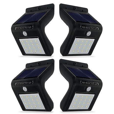 (4 Unidades) Foco Solar de 16 LED, Lámparas Solares con Sensor de Movimiento