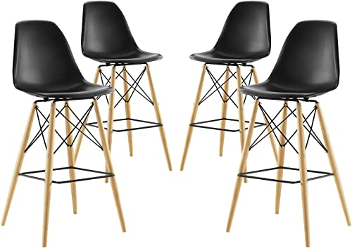 Modway Pyramid Mid-Century Modern Two Bar Stools with Natural Wood Legs in Black