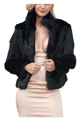 YACUN Mujeres Faux Fur Corta Chaqueta De Abrigo Frente Abierto Parkas Outwear Tops