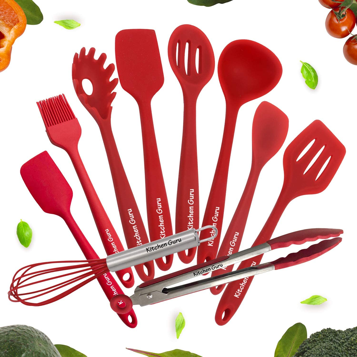Kitchen Utensil 10-piece Set by Kitchen Guru – Cooking Utensils Including Silicone Spatula, Non-Stick, Non-Scratch, Cooking Utensils Set – 10 Piece Silicone Cooking Utensils Set For Every Home