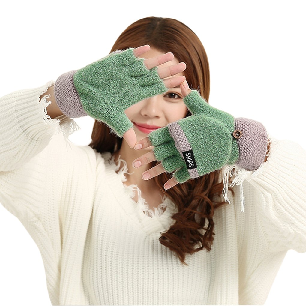 Women Teenagers 2 in 1 Winter Warm Stretchy Knitted Half Finger Gloves Mittens