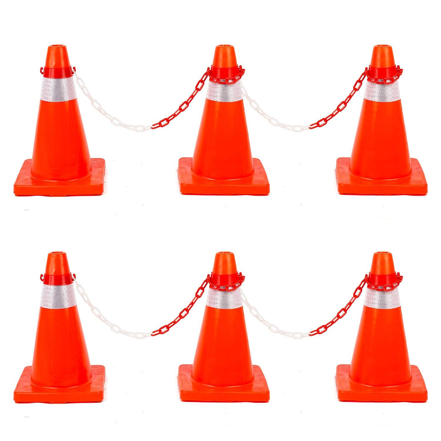 12PCS Traffic Safety Cones 18inches with Reflective Collars PVC Unbreakable Orange Construction for Home Road Parking