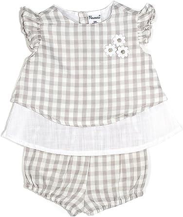 Conjunto Blusa Blanca y Bombacho Cuadros Gris para bebé niña (6M): Amazon.es: Ropa y accesorios