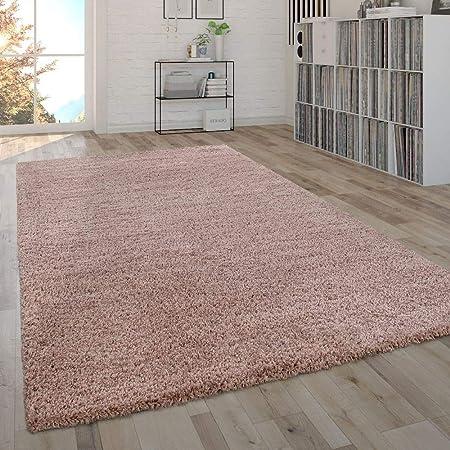 Paco Home Soffice Tappeto da Soggiorno a Pelo Lungo Shaggy, Pratico e  Moderno in Tinta Unita Pink, Dimensione:160x220 cm