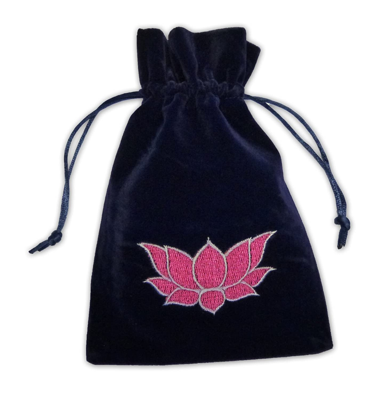Find Something Different Lotus Flower Midnight Blue Luxury Velvet Tarot Card Bag