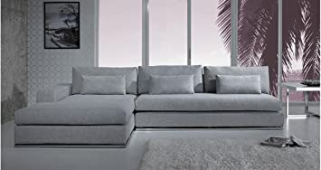 Beau Light Grey Fabric Sectional Sofa