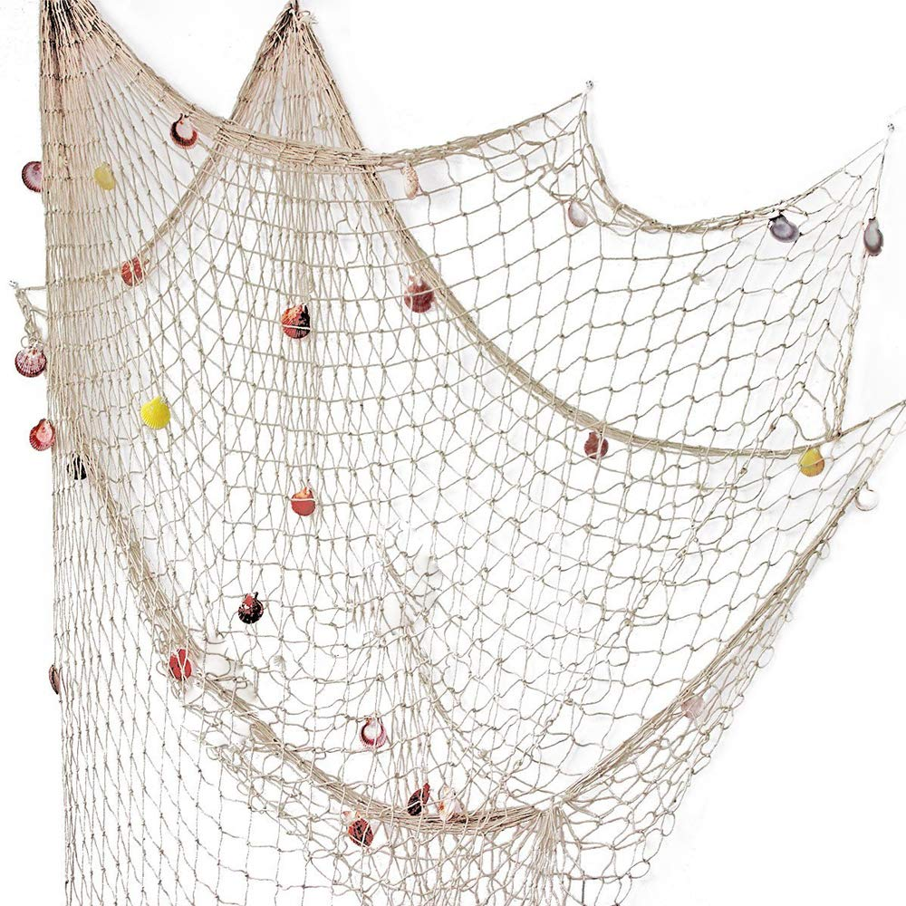 YOAYO Decorative Fishing Net, Sea Theme Nautical Fish Net Decor for Home/Patio Wall Decoration,Photo Hanging Display Frames,79x59inches,Beige