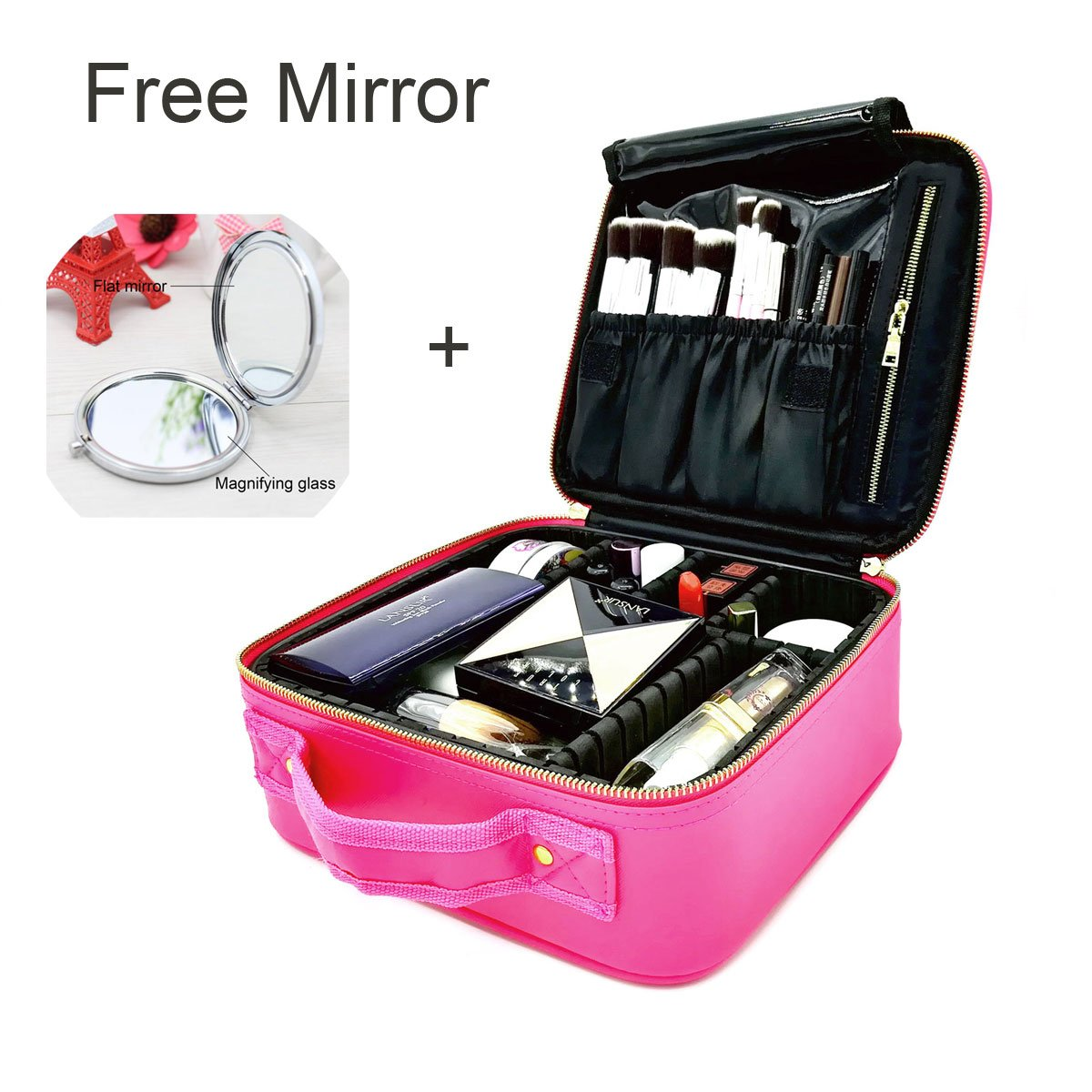 Makeup Train Case/Cosmetic Bags, PU Leather Portable Makeup bag/Organizer 10.2'' Travel Cosmetic Case with Adjustable Dividers and Exquisite Small Magic Mirror for Home & Travel [Best Gift for Girls]