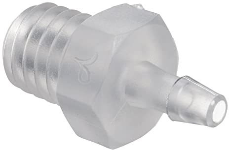 Value Plastic S10-6 Barbed Tube Fitting Threaded Adapter 1//4-28 UNF Thread X 1//16 pack of 25 Tube ID Natural Polypropylene 1.6 mm