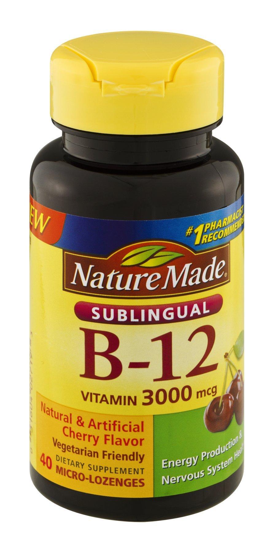 Nature Made Vitamin B-12 3000mcg Sublingual Tablets - 40 ea, Pack of 3