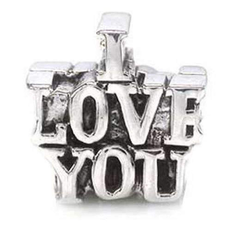 TOC BEADZ I Love You 13mm Funky Slide-on Bead