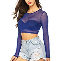 Avidlove Women's Long Sleeve See Through Crop Top Mesh Sheer Crop Top Blouse