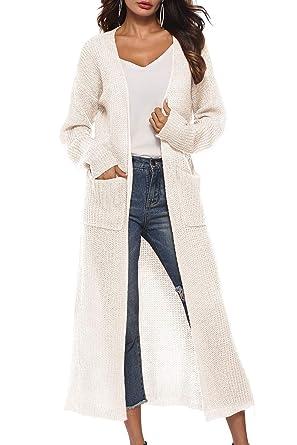 Landove Pull Maille Femme Long Chandail Tricot Crochet Manche Longue Col V  Cardigan Asymetrique Mi Long 816f8bf83e5a