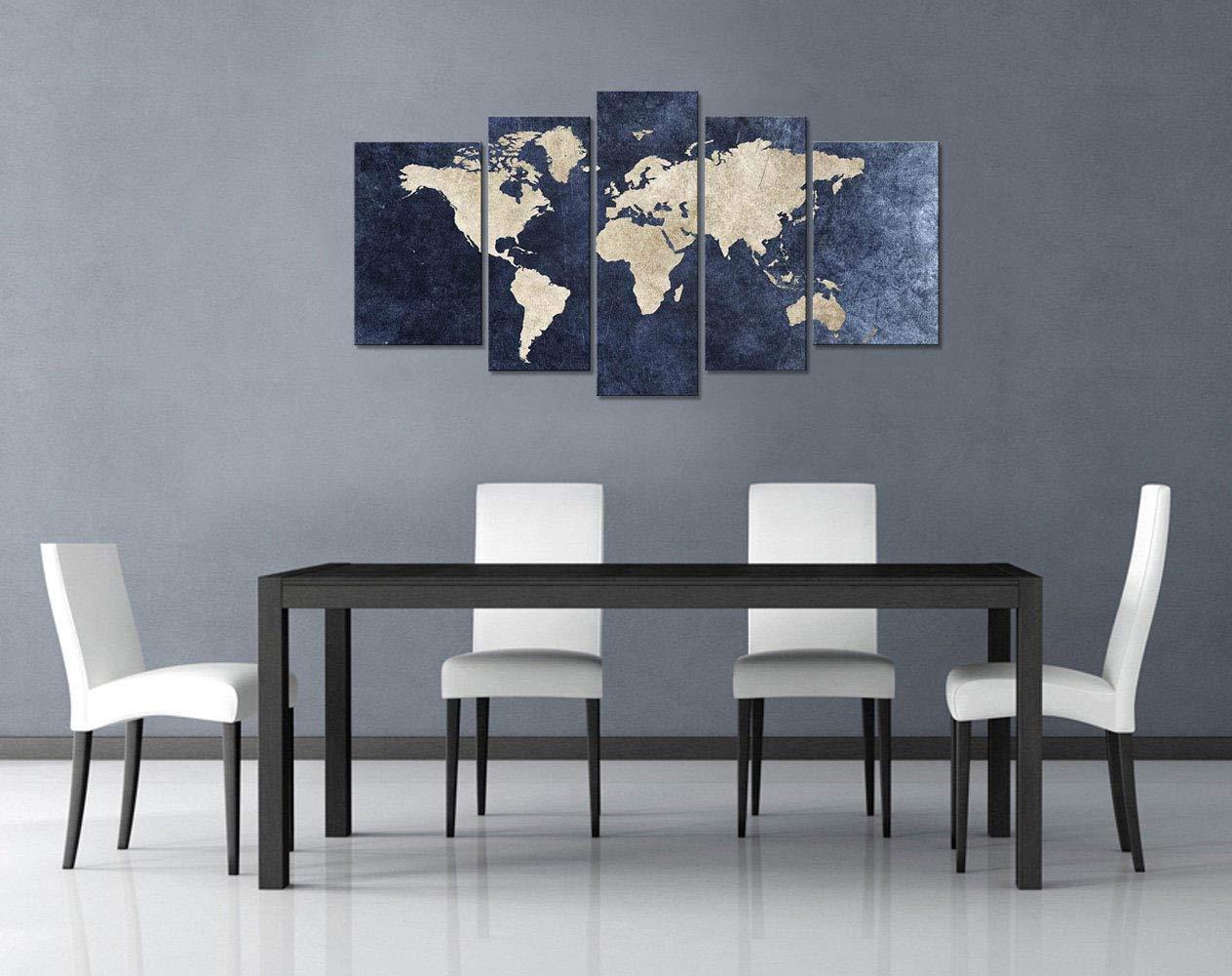 Amazon.com: Mapa del Mundo imagen lona pared arte Multi ...