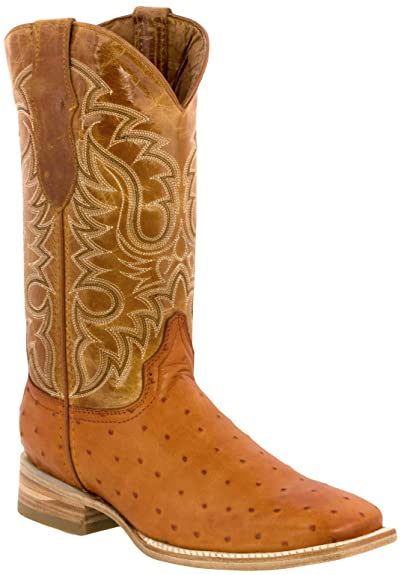 fe444bd4b21 Texas Legacy - Men's Ostrich Quill Design Leather Cowboy Boots Square Toe