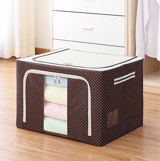 La caja de almacenamiento de Oxford impermeable de tela de algodón Caja de almacenaje plegable Quilt Cuadro de ordenación ropa Caja de almacenamiento transparente Frame,café,50cm*40cm*33cm Acero: Amazon.es: Hogar