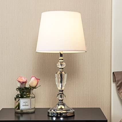 Popilion modern style chrome bedroom livingroom crystal bedside popilion modern style chrome bedroom livingroom crystal bedside table lampdesk lamps with white fabric aloadofball Images