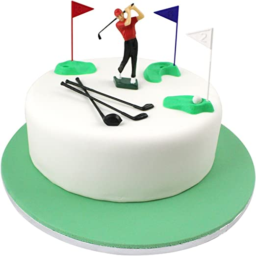 Amazon Com Pme Set Cake Topper Golf Decorations Plastic Figures 13 Pieces Green Red Blue White Black Standard Multicolor Kitchen Dining