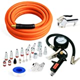 """FYPower 22 Pieces Air Compressor Accessories kit, 3/8 inch x 25 ft Hybrid Air Compressor Hose Kit, 1/4"""" NPT Quick Connect Air Fittings, Tire Inflator Gauge, Heavy Duty Blow Gun, Swivel Plugs"""