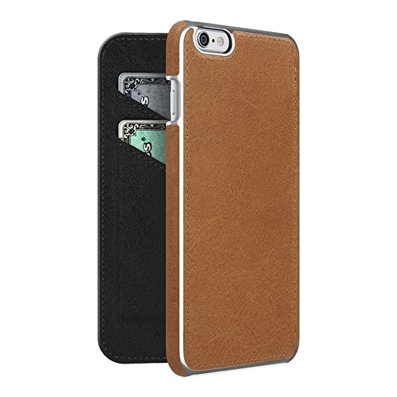 more photos 68c2e 28d23 ADOPTED Leather Folio Case for Apple iPhone 6 Plus/6sPlus - Brown/Silver -  APH13242