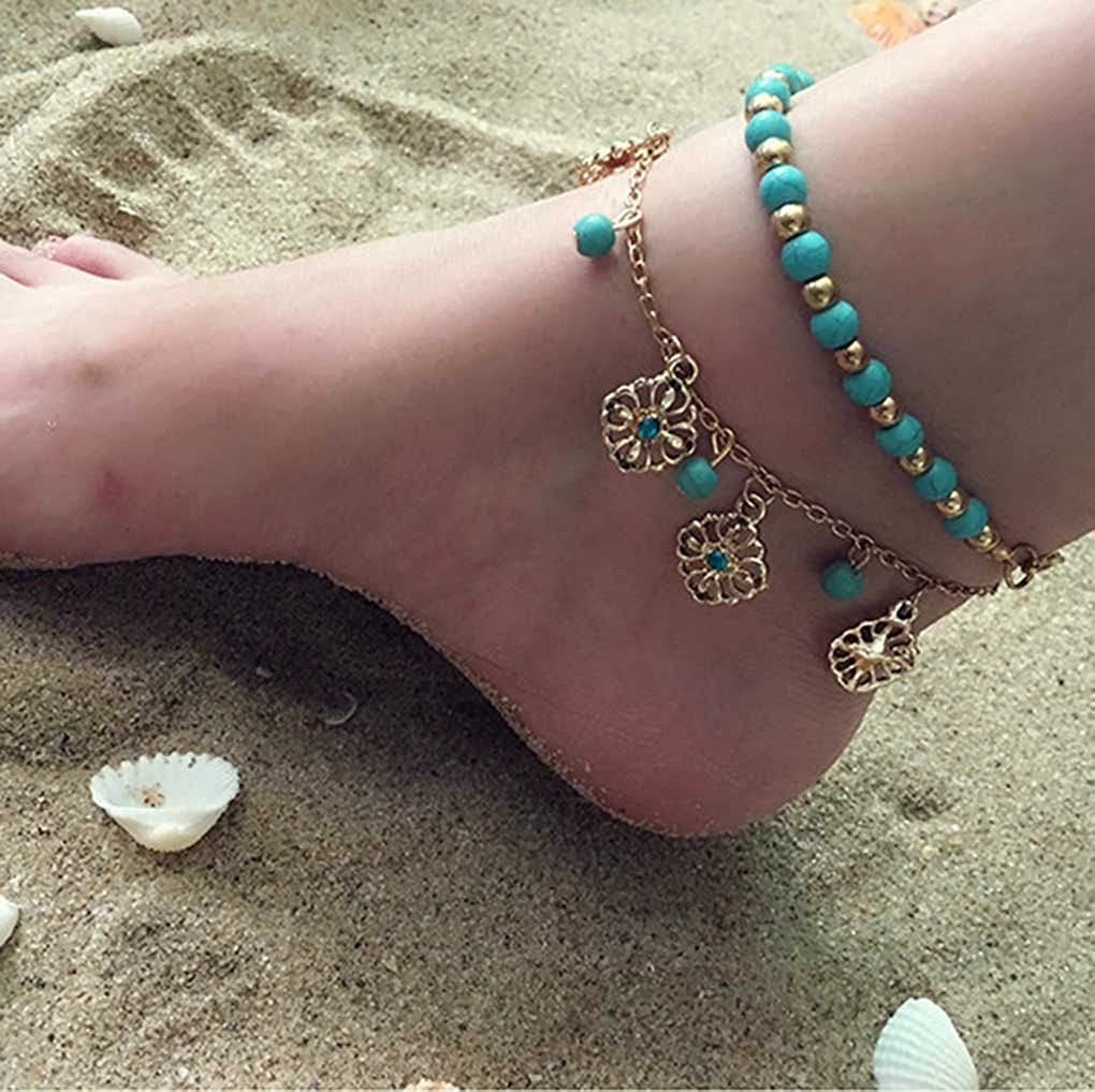Yfe Bohemia Layered Turquoise Anklet Foot Jewelry Turquoise Flowers Anklets for Women and Girls Bracelet Foot Chain Beach Jewelry Charm Accessories
