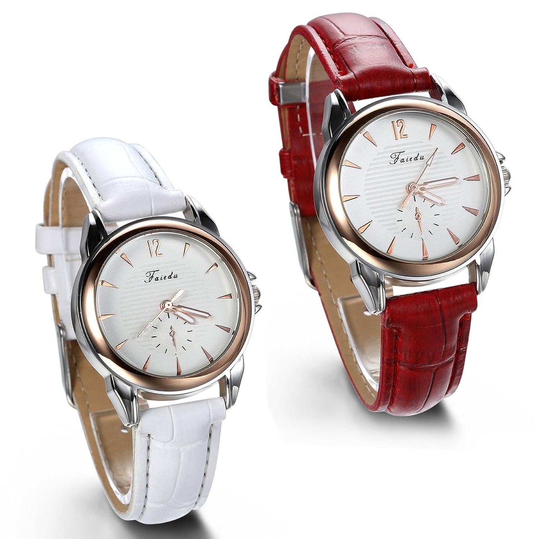 JewelryWe 2pcs Damen Armbanduhr - Analog Quarz - Klassische Business Casual Uhr mit Leder Armband - Rot Weiss