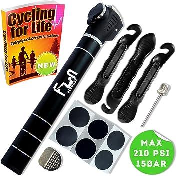 Mini Bomba DE Bici (Negro) con Kit Reparador De Neumáticos Y Parche Sin Punción