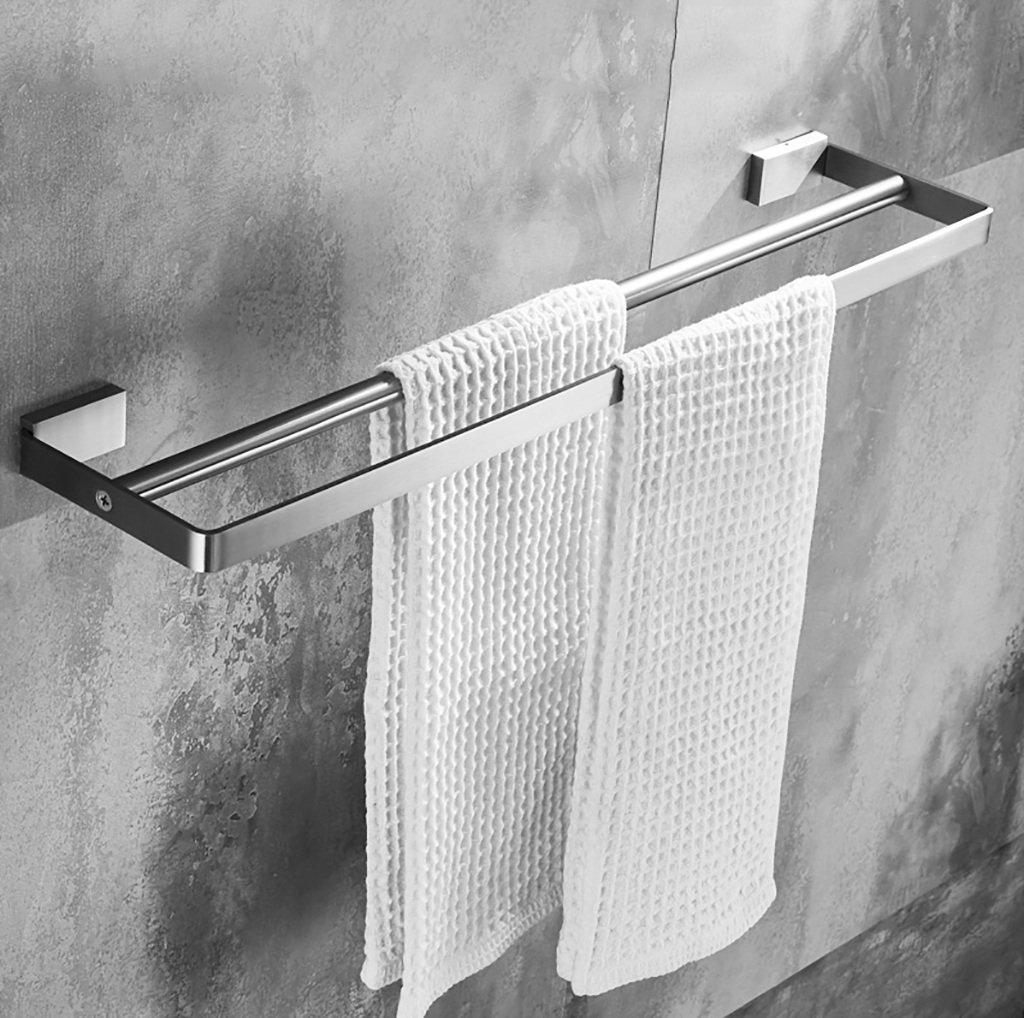 タオルラックウォールマウントドリルダブルバーレールステンレススチールバスルームミニマルタオル棚 (サイズ さいず : 80センチメートル) B07FGDFYKD80センチメートル