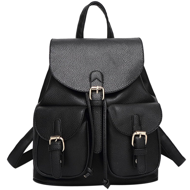 Amazon.com | Women Faux Black Leather Backpacks Purse, Girl Travel ...