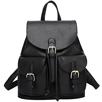 Black leather backpack 86E8WC42w