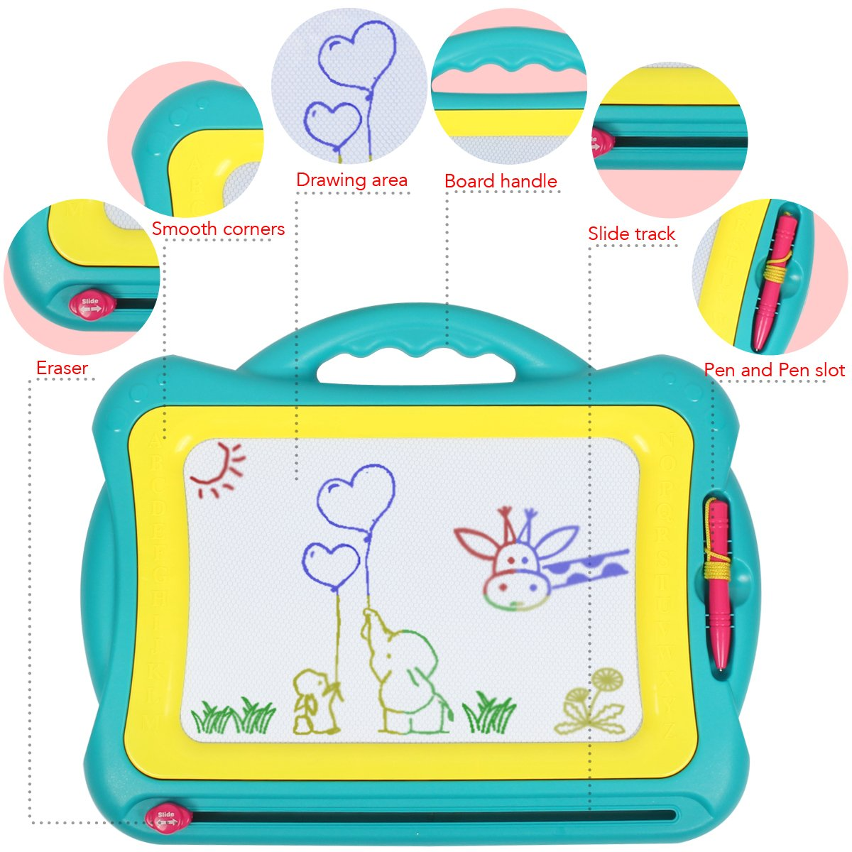Green-Yellow Tomons Magnetic Drawing Board Assorted Colors Painting Sketching Pad for Toddler Boy Girl Kids Skill Development Colorful Erasable Magnet Writing Sketching Pad