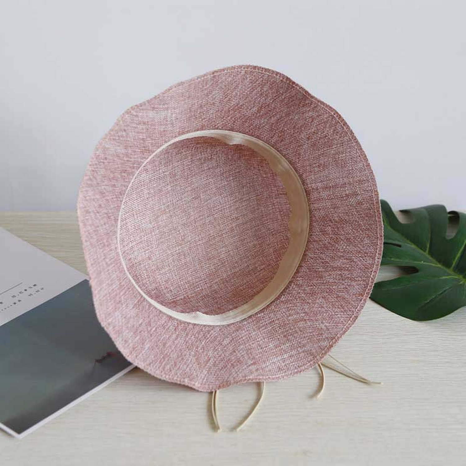 Summer Straw Sun Hats Beach Cap Casual Ladies Sun Protection Outdoor Floral Sunhat,Hot Pink