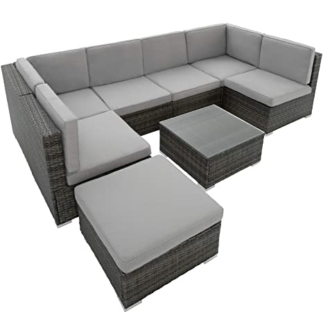 TecTake 402698 – Conjunto Salón de Jardín Ratán, 6 sillas 1 Taburete 1 Mesa, Tornillo en Acero Inoxidable Gris