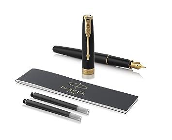 Parker Pen Sonnet Series Matte Black//Gold Clip 0.5MM Medium Nib Fountain Pen