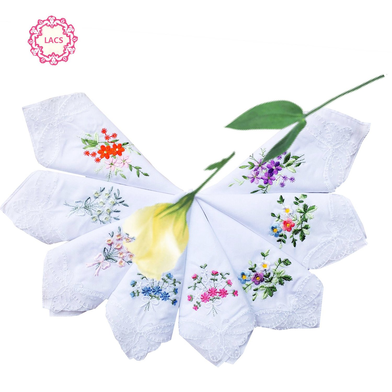 LACS Womens Embroidered Floral Cotton Lace Handkerchiefs White Hankies Pack