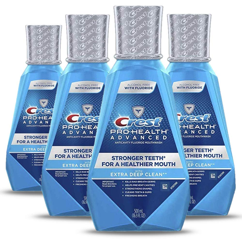 Crest ProHealth Advanced Alcohol Free Extra Deep Clean Mouthwash Fresh Mint 500 Ml 4 Count (Packaging May Vary)