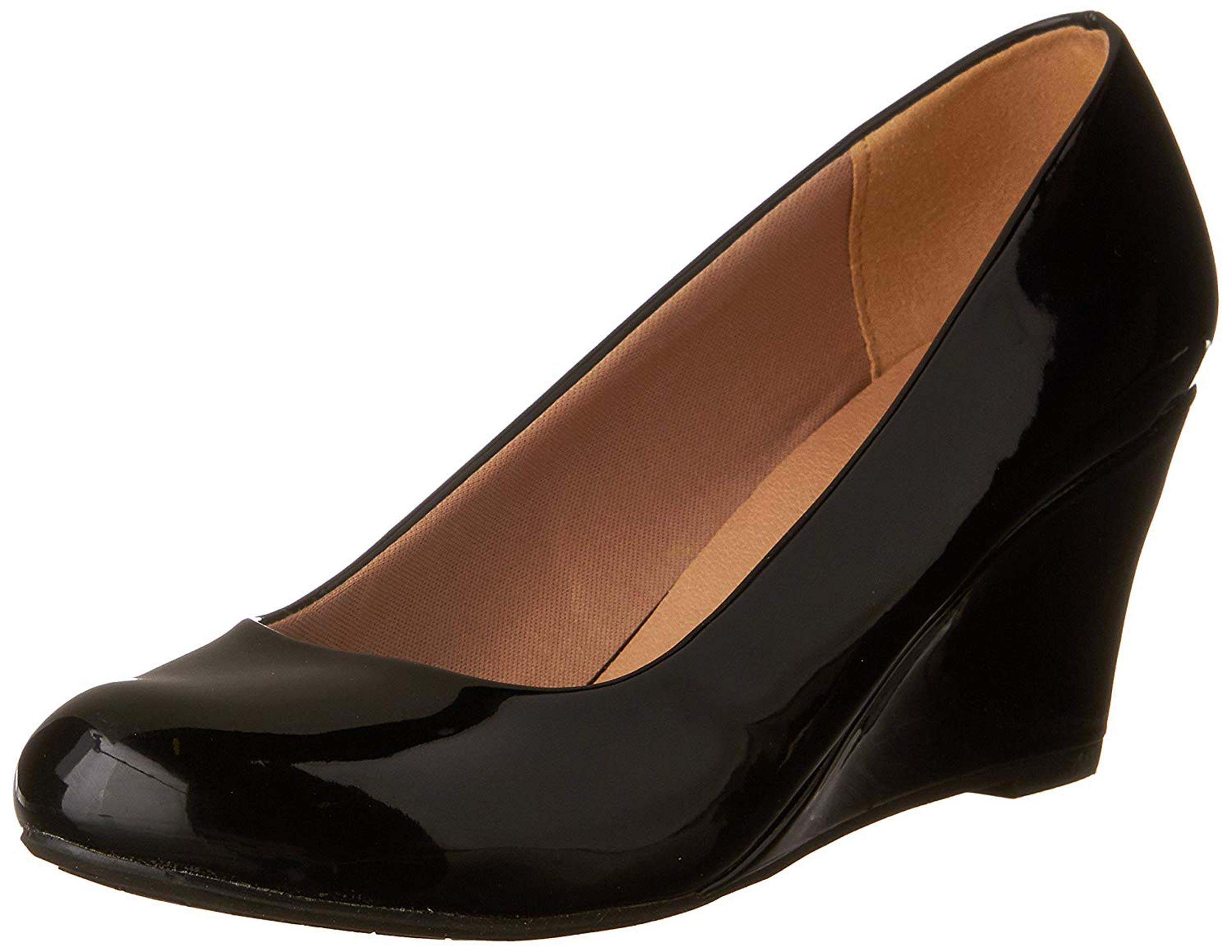 Forever Link Women's DORIS-22 Patent Round Toe Wedge Pumps Black 10 by Forever Link