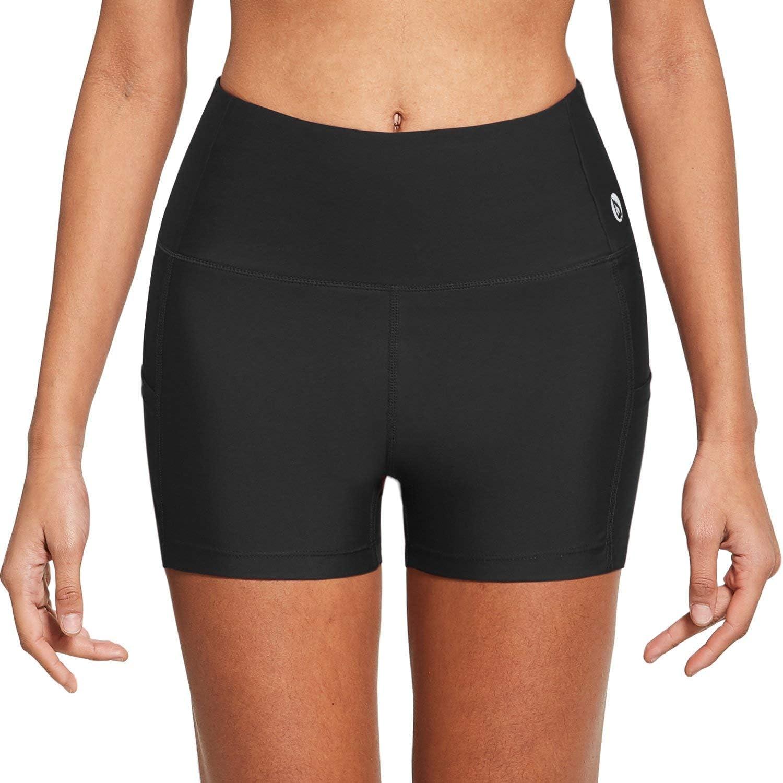 BALEAF Womens High Waist 3 Inches Compression Spandex Workout Running Yoga Volleyball Shorts Back Zipper Pocket